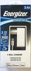 Energizer ULTIMATE Ładowarka Sieciowa 2xUSB do 3,4 A + kabel Lighting biała ASENGLI2CEUULI3