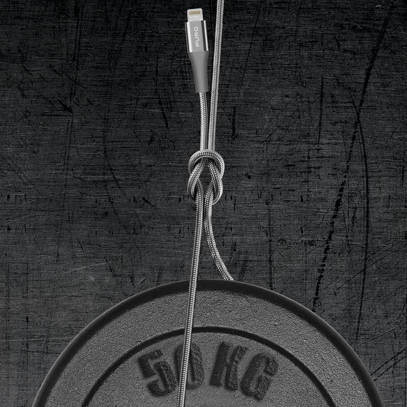 PURO Fabric K2 Kabel W Oplocie Heavy Duty USB-A/Lightning MFi 2m (Space Gray) CAPLTFABK22MSPGREY
