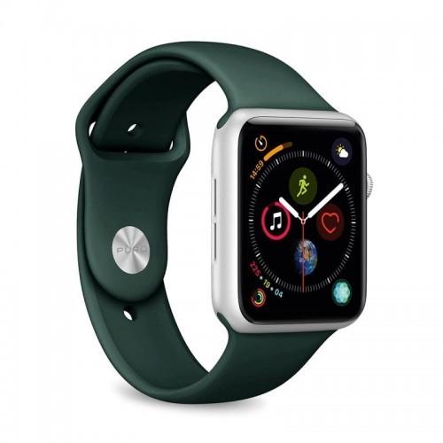 PURO ICON Apple Watch Band - Elastyczny pasek sportowy do Apple Watch 42 / 44 mm (S/M & M/L) (ciemnozielony)