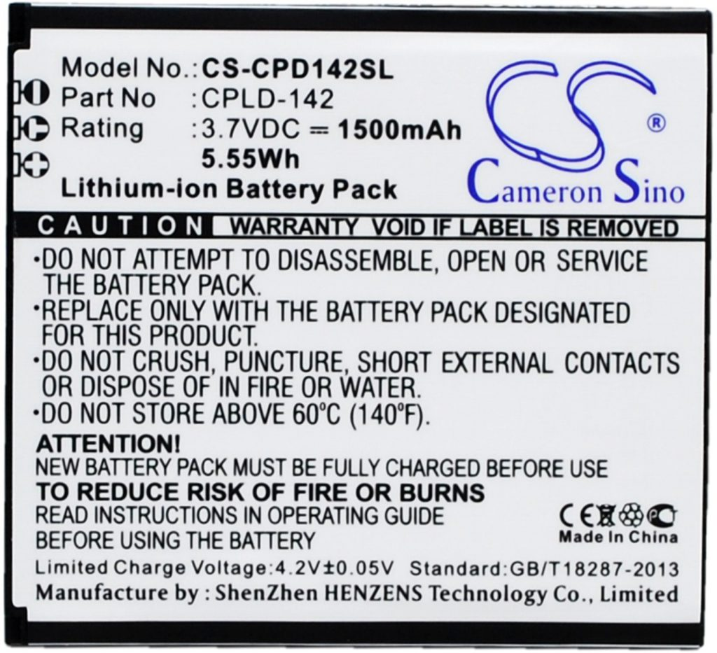 Coolpad 5313S CPLD-142 1500mAh 5.55Wh Li-Ion 3.7V Cameron Sino) CS-CPD142SL
