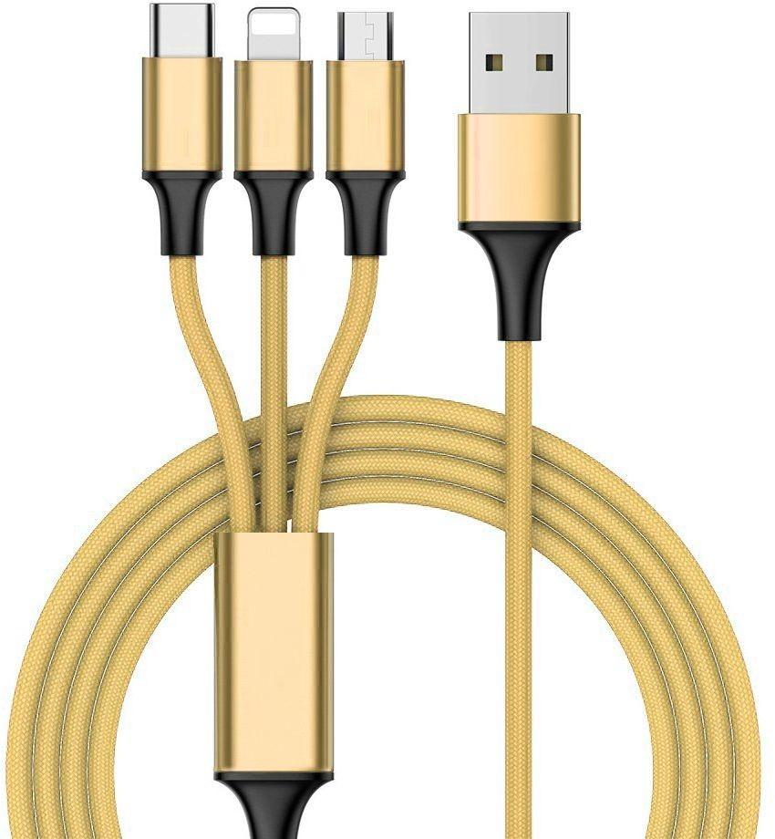 Hurtel Nylonowy kabel 3w1 USB - micro USB / Lightning / USB Typ C 1 m złoty