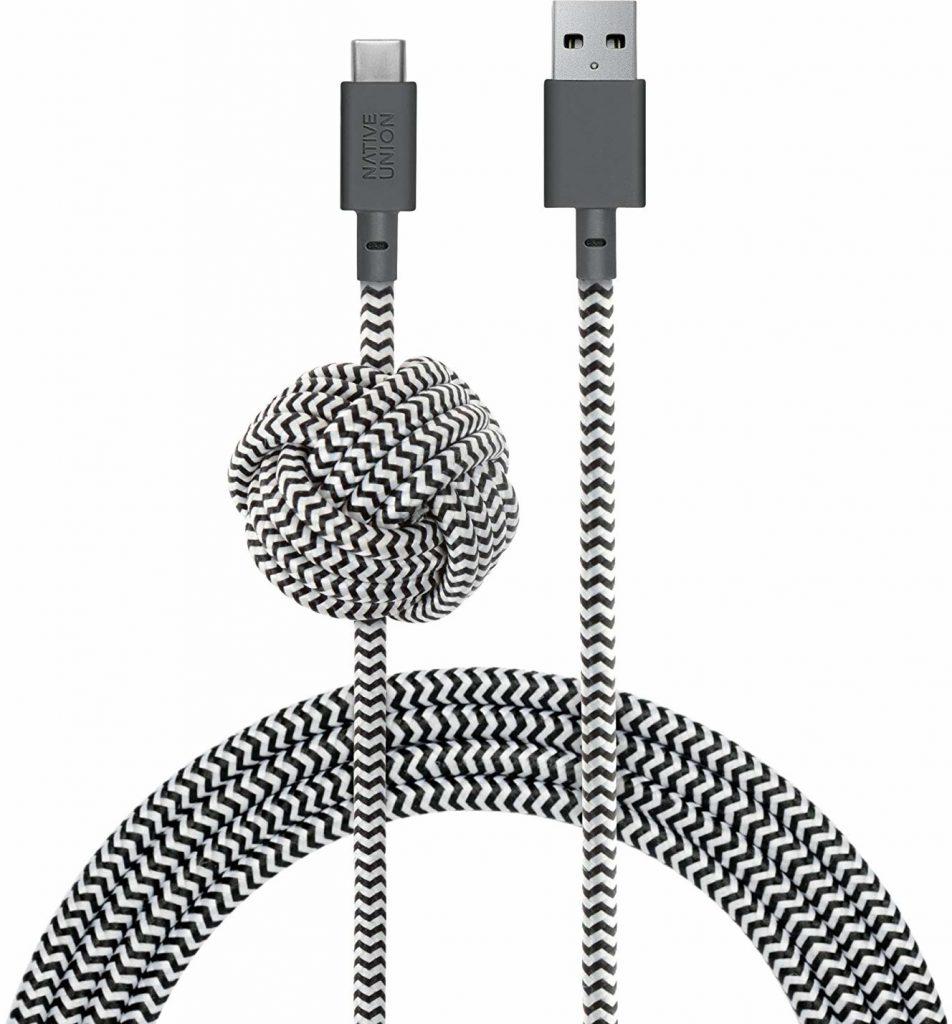 Native Union Night Cable Kabel USB ze Złączem USB-C z Węzłem 3m (Zebra) NCABLE-KV-AC-ZEB
