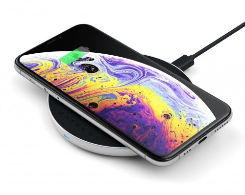 SATECHI SATECHI ALUMINUM TYPE-C PD & QC WIRELESS CHARGER Silver   iPhone Xs / Xs Max / Xr / X / 8 / 8 Plus ST-IWCBS