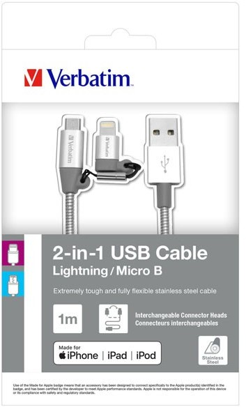 Verbatim Red Fighter Kabel USB 2.0 USB A M USB micro M 1m srebrny box 48869 regulowana końcówka Lightning KUALMRX10S0E