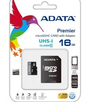 A-Data microSD Premiere 16GB + adapter (AUSDH16GUICL10-RA1)