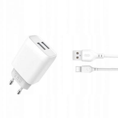 A Plus Xo Ładowarka sieciowa kabel typ-C biała 2USB 2,4A
