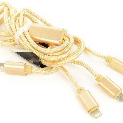 ACCURA 3 w 1 Lightning USB-C micro USB 1.2m złoty (ACC2157)