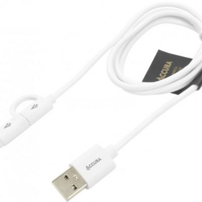 ACCURA USB to Lightning/microUSB white 1M ACC2159