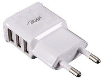 Akyga Akyga Ładowarka USB AK-CH-05 240V 3100mA 3xUSB biała
