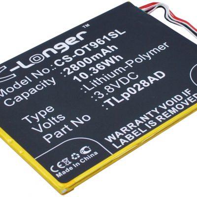 Alcatel One Touch Pixi 7 / TLp028AD 2800mAh 10.36Wh Li-Polymer 3.8V (Cameron Sin