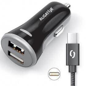 Aligator Zasilacz samochodowy 2xUSB smart IC 3,4A + USB-C kabel CHS0008) Czarny