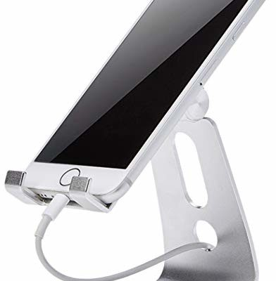 AmazonBasics Adjustable Cell Phone Stand for iPhone and Android | Silver