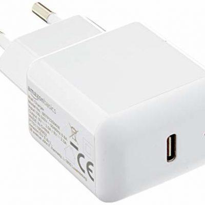 AmazonBasics ładowarka USB-C do telefonów komórkowych, 18 W, 1 przyłącza, biała