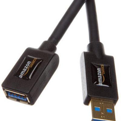AmazonBasics przedłużacz USB 3.0 wtyk typu A na gniazdo typu A, długość 3 m, wstecznie kompatybilny z USB 2.0 i 1,1