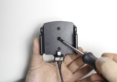 Apple Uchwyt regulowany do iPhone 11 w futerale lub obudowie o wymiarach: 70-83 mm (szer.), 2-10 mm (grubość) z wbudowanym kablem USB oraz ładowarką samochodową Brodit AB