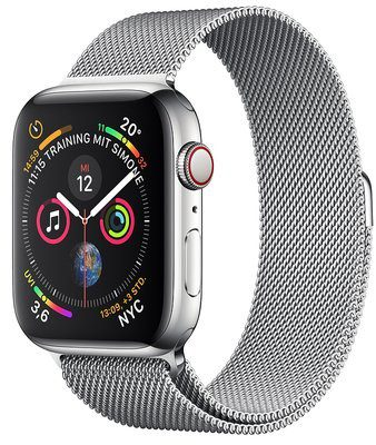 Apple Watch 4 44mm Cellular Srebrny/Bransoleta mediolańska (MTX12WB/A)