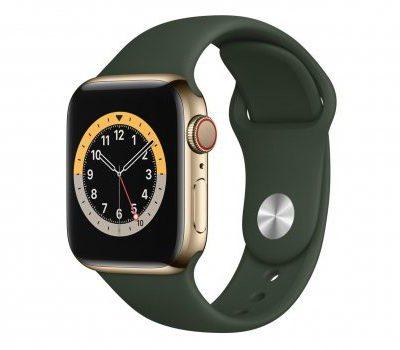 Apple Watch 6 40/Gold Steel/Cyprus Green Sport LTE