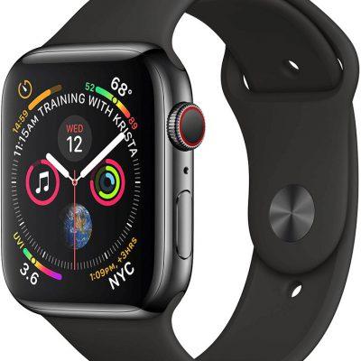 Apple Watch Series 4 / GPS + LTE / 44mm Gwiezdna czerń/Pasek sportowy w kolorze czarnym (FTX22B/A)