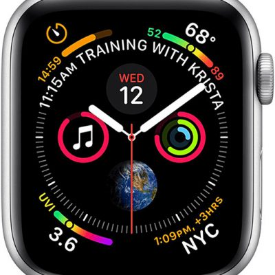 Apple Watch Series 4 / GPS + LTE / 44mm Srebrny/Pasek sportowy w kolorze białym (FTVR2B/A)