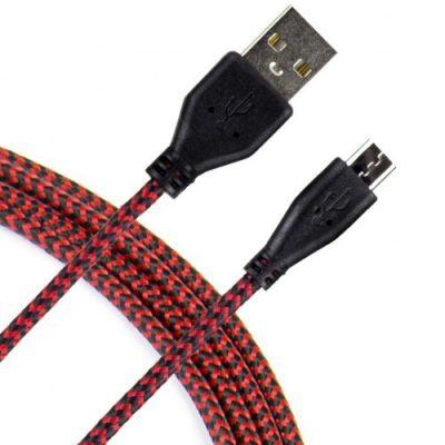 Art KABEL USB 2.0 Am/micro USBm czarno-czerwony oplot 2m oem
