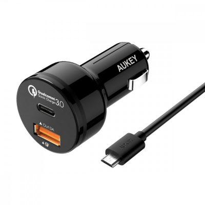 Aukey Ultraszybka ładowarka samochodowa CC-Y1 2xUSB Quick Charge 3.0 1xUSB+1xUSB C 6A 33W ASAUKLUCCY10000