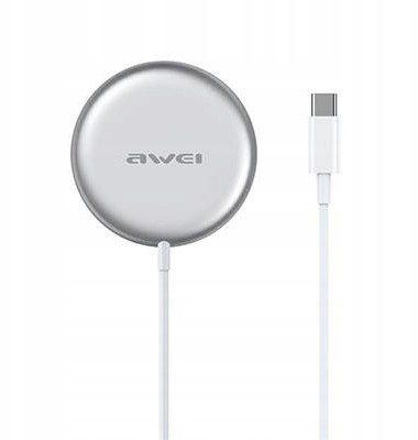 AWEI ład. indukcyjna W10 MagSafe 15W biały/white