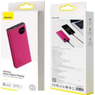 Baseus Adaman | Power Bank 10000mAh Quick Charge 3.0 PD 3.0 Huawei SuperCharge 5A | czerwony PPIMDA-B09