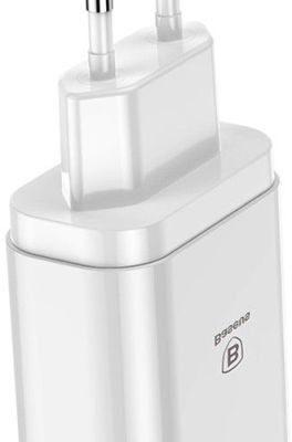 Baseus ładowarka sieciowa 3x USB Mirror Travel Charger biała CCALL-BH02