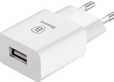 Baseus Letour adapter ładowarka sieciowa EU zasilacz do telefonu USB 2.1A biała 6953156244511