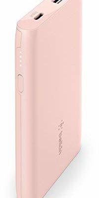 Belkin Boost Charge Power Bank 5K (przenośna ładowarka z portem USB, pojemność 5000 mAh, zestaw baterii do iPhone, AirPods, iPad, Samsung, Pixel, więcej) - różowe złoto BPB004btC00
