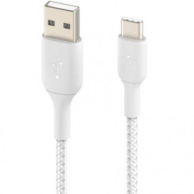 Belkin Kabel Boost Charge Braided USB-C do USB-A 1m, biały 745883788576