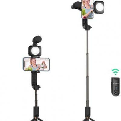 BlitzWolf Statyw tripod Selfie stick BlitzWolf BW-BS15 z lampą i mikrofonem