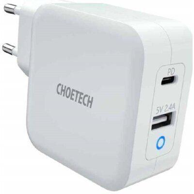 CHOETECH Ładowarka sieciowa CHOETECH PD8002 GaN 2 x USB/USB-C Power Delivery 3.0 65W 5.4A Biały