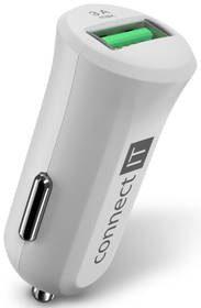 Connect IT Zasilacz samochodowy InCarz 1x USB 3A) s funkcí rychlonabíjení QC 3.0 CCC-5010-WH) Biała