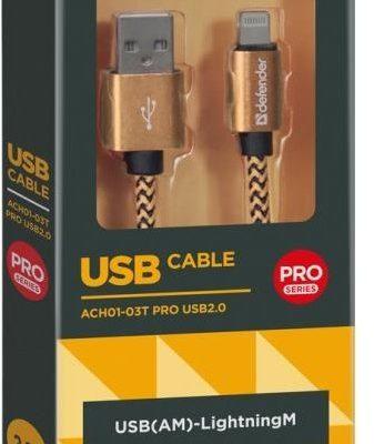 DEFENDER Kabel USB USB-LIGHTNING 1m 2,1A złoty 87806