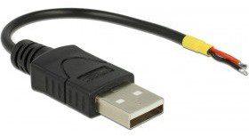 Delock Kabel USB 2.0 typu A męskie > 2 X otwarte końce kabli power 10 cm Raspberry Pi 85250