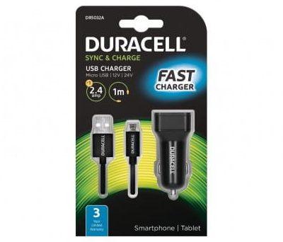Duracell ładowarka samochodowa 5V 1 x USB-A 2.4A + kabel USB microUSB 1m czarny 51_DR5032A