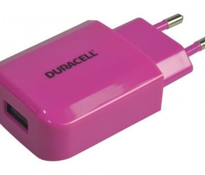 Duracell ładowarka sieciowa 5V 2.1A + kabel USB micro USB 1m różowy