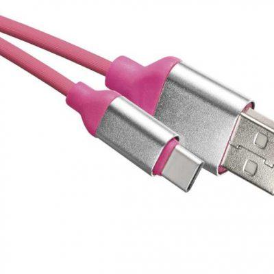 Emos Przewód USB 2.0 wtyk A - wtyk C, 1 m różowy różowy SM7025P