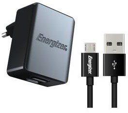Energizer Ładowarka do sieci 2x USB 3,4A s Micro USB kabelem 1m ACA2CEUUMC3) Czarna