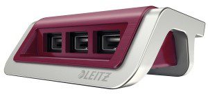 Esselte Ładowarka USB Leitz Style, 3 porty, rubinowa czerwień ES1208-3
