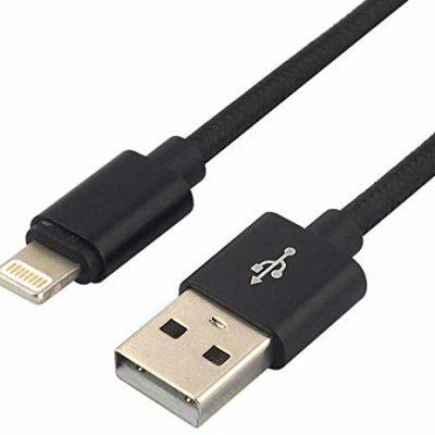 everActive everActive kabel USB, kabel nylonowy, Lightening/Smart Phone, tablet, pad, szybkie ładowanie do 2,4 A, 100 cm długości, czarny, model: CBB-1IB CBB-1IB
