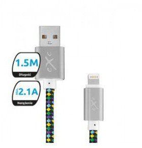 eXc Kabel USB 2.0 eXc DIAMOND USB A(M) - Lightning 8-pin(M), 1,5m, czarno-multi 5901687937397