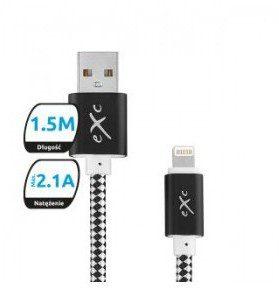 eXc Kabel USB 2.0 eXc DIAMOND USB A(M) - Lightning 8-pin(M), 1,5m, czarno-szary 5901687937380