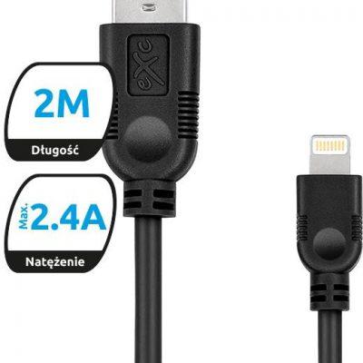 EXC Kabel USB 2.0 eXc WHIPPY USB A M Lightning 8-pin M 2m czarny 5901687938394