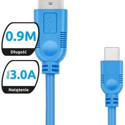 EXC Kabel USB 2.0 eXc WHIPPY USB A M USB 3.1 TYPU C M 5-pin 0,9m niebieski 5901687938486