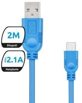 EXC Kabel USB 2.0 eXc WHIPPY USB A M USB 3.1 TYPU C M 5-pin 2m niebieski KKE0KKBU0240