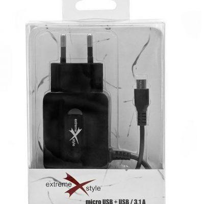 eXtreme Ładowarka sieciowa micro USB + USB 3,1A TTT TT00360098