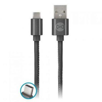 FOREVER FOREVER Kabel USB USB-C 1M skóra czarny