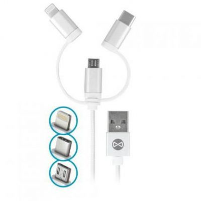 FOREVER KABEL USB micro-USB/Lightning/USB-C 1M bialy